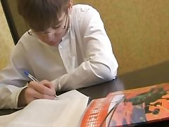Ash-Blonde teenage doing homework